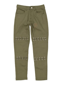 Girls 7-16 Grommet Detail Twill Pants - 3602073990003