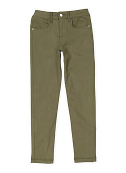 Girls 7-16 Solid Twill Pants - OLIVE - 3602073990004