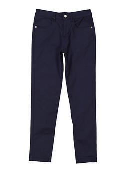Girls 7-16 Solid Twill Pants - NAVY - 3602073990004