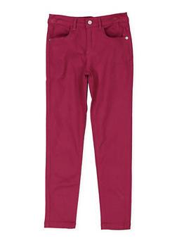 Girls 7-16 Solid Twill Pants - WINE - 3602073990004