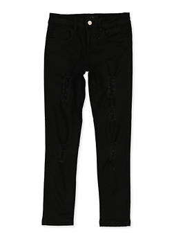 Girls 7-16 Distressed Skinny Twill Pants - 3602073990005