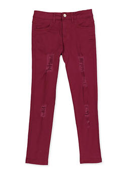 Girls 7-16 Twill Frayed Pants - 3602073990006
