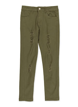 Girls 7-16 Distressed Twill Pants - 3602073990007