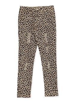 Girls 7-16 Leopard Twill Skinny Pants - 3602073990009