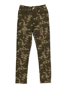 Girls 7-16 Frayed Camo Pants - 3602073990010
