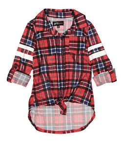 Girls 4-12 Plaid High Low Shirt - 3605038340083