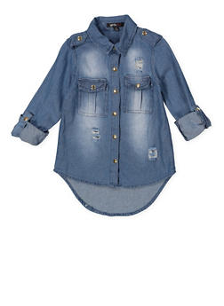 Girls 4-6x Graphic Embroidered Denim Shirt - 3605038340085