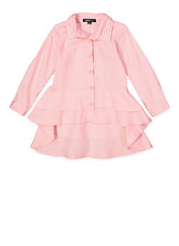 Girls 4-6x Tiered High Low Shirt - 3605038340087