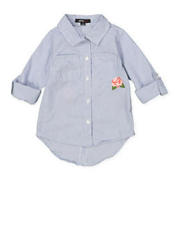 Girls 4-6x Embroidered High Low Shirt - 3605038340089