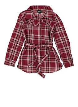 Girls 4-6x Plaid Button Front Shirt - 3605038340095