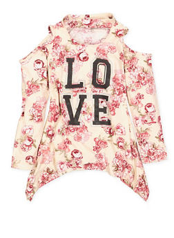 Girls 4-6x Graphic Floral Choker Neck Top - 3605038340107