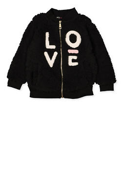 Girls 4-6x Love Sherpa Zip Sweatshirt - 3605038340115
