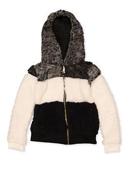 Girls 4-6x Color Block Sherpa Sweatshirt - 3605038340117
