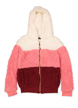 Girls 4-6x Color Block Sherpa Sweatshirt - 3605038340117