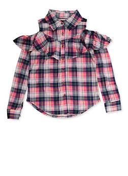 Girls 4-6x Plaid Cold Shoulder Shirt - 3605038340118