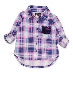 Girls 4-6x Plaid Reversible Sequin Pocket Detail Shirt - 3605038340119