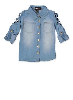 Girls 4-6x Caged Shoulder Denim Shirt - 3605038340122