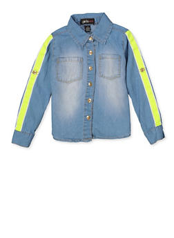 Girls 4-6x Neon Tape Trim Denim Shirt - 3605038340123