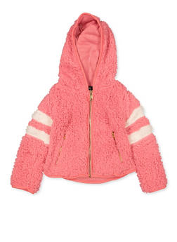 Girls 4-6x Varsity Stripe Sherpa Sweatshirt - 3605038340127