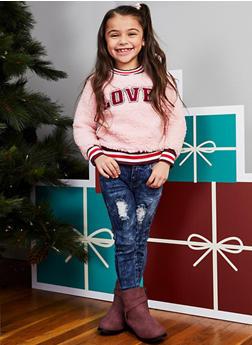 Girls 4-6x Love Graphic Sherpa Sweatshirt - 3605038342540