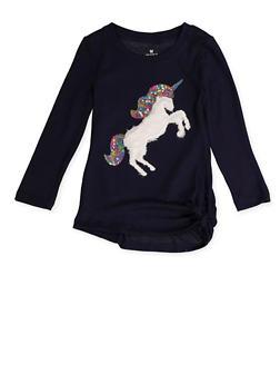 Girls 4-6x Sequin Furry Unicorn Knit Tee - 3605061950022