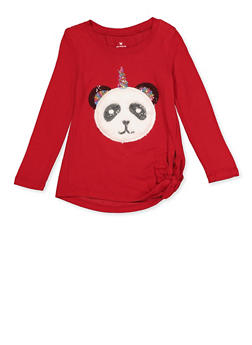 Girls 4-6x Faux Fur Pandacorn Knit Tee - 3605061950023