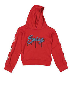 Girls 4-6x Sassy Graphic Lace Up Sweatshirt - 3605063400019