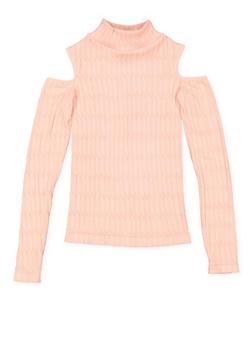 Girls 7-16 Rib Knit Cold Shoulder Sweater - 3606038340152