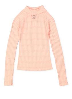 Girls 7-16 Ribbed Knit Mock Neck Sweater - 3606038340153