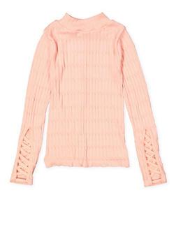 Girls 7-16 Caged Sleeve Mock Neck Sweater - 3606038340154
