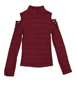 Girls 7-16 Cold Shoulder Cable Knit Sweater - 3606038340155