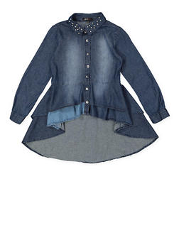 Girls 4-16 Denim High Low Shirt - 3606038340200