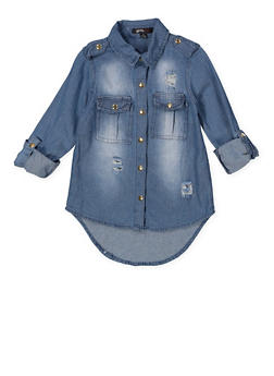 Girls 7-16 Graphic Embroidered Denim Shirt - 3606038340201