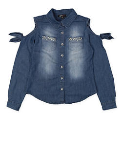 Girls 7-16 Studded Denim Cold Shoulder Shirt - 3606038340202