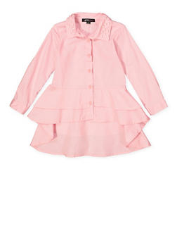 Girls 7-16 Tiered High Low Shirt - 3606038340203