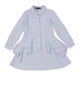 Girls 7-16 Striped High Low Shirt - 3606038340204