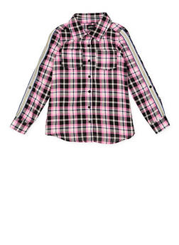 Girls 7-16 Plaid Glitter Tape Shirt - 3606038340207