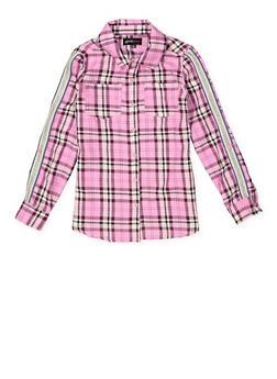 Girls 7-16 Plaid Glitter Tape Shirt - 3606038340207