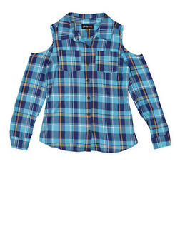 Girls 7-16 Graphic Plaid Cold Shoulder Shirt - 3606038340208