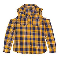Girls 7-16 Graphic Plaid Cold Shoulder Shirt - 3606038340208