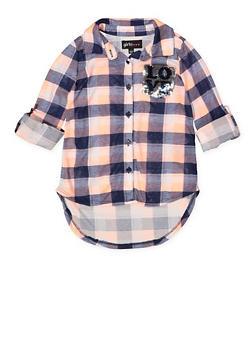 Girls 7-16 Reversible Sequin Detail Plaid Shirt - 3606038340209