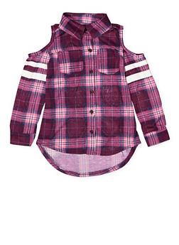 Girls 7-16 Cold Shoulder Plaid Shirt - 3606038340210