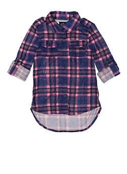 Girls 7-16 Plaid Tabbed Sleeve Shirt - 3606038340211