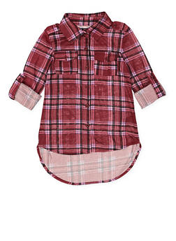 Girls 7-16 Plaid Tabbed Sleeve Shirt - 3606038340211