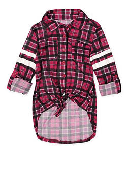 Girls 7-16 Plaid High Low Shirt - 3606038340212