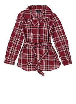 Girls 7-16 Plaid Button Front Shirt - 3606038340215