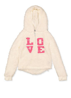 Girls 7-16 Love Graphic Hooded Sherpa Sweatshirt - 3606038340220