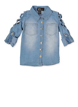 Girls 7-16 Caged Shoulder Denim Shirt - 3606038340226