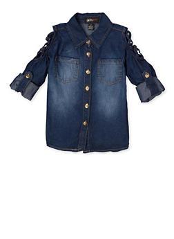 Girls 7-16 Caged Shoulder Denim Shirt - 3606038340226