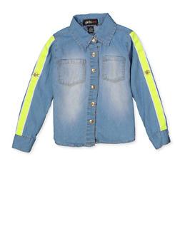 Girls 5-16 Neon Tape Trim Shirt - 3606038340227